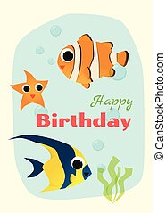 Birthday and invitation card animal background with fish