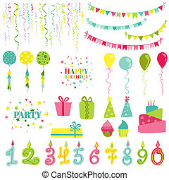 Birthday and Party Set - for photobooth, scrapbook, design - in vector