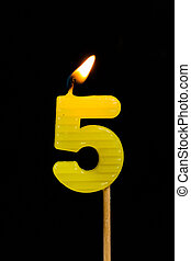 Birthday-anniversary candles showing Number. 5