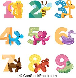 Birthday anniversary cartoon numbers with cute balloon animals for baby party, vector template invitation cards