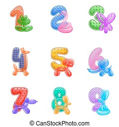 Birthday anniversary numbers with balloons animals for kids party invitation card.