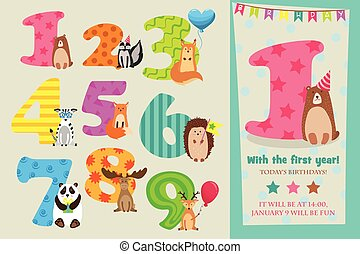 Children Birthday Party Invitation Card Vector Template With