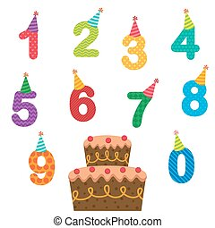Birthday anniversary numbers with hats