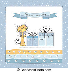 Birthday announcement card with cat