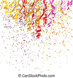 Birthday Background - Confetti and Serpentine Ribbons