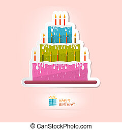 Birthday Background Illustration with Cake