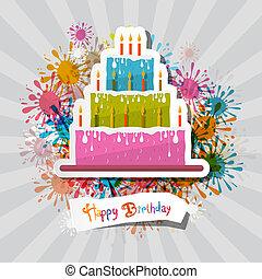 Birthday Background Illustration with Cake