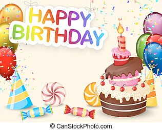 Birthday background with birthday c - Vector illustration of...