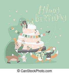 Birthday background with happy animals