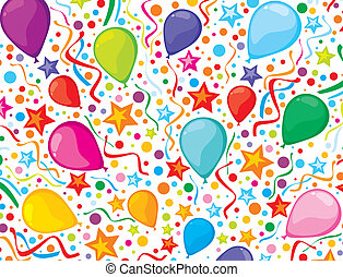 birthday background with party streamers and confetti...