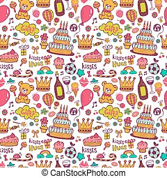 Birthday background with symbols of a holiday