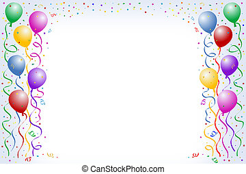 Birthday balloon - Multicolored balloon borders on blue ...