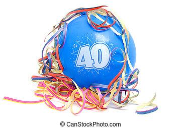 Birthday balloon with the number 40 - Blue birthday balloon ...
