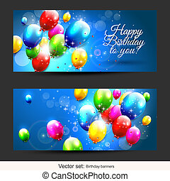 Birthday balloons banners - Set of two horizontal birthday...
