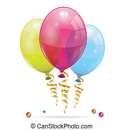 Birthday Balloons - 3D Transparent Birthday Balloons with...