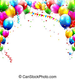 Coloful birthday balloons isolated on white background
