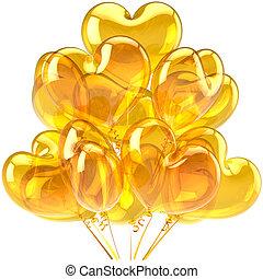Birthday balloons colored yellow