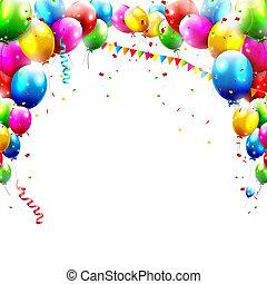 Birthday balloons - Coloful birthday balloons isolated on...