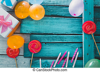 Birthday baloons and objects - Birthday background. Birthday...