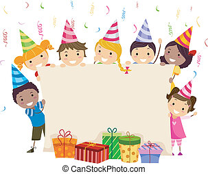 Birthday Banner - Illustration of Kids Holding a Banner