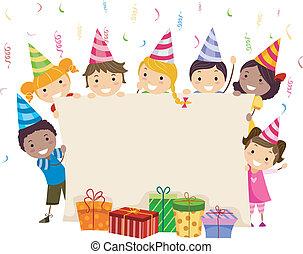 Birthday Banner - Illustration of Kids Holding a Banner