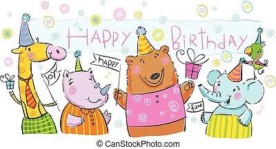 Birthday banner with animals.