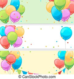 Birthday banners with balloons