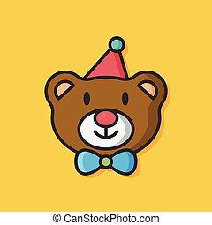 birthday bear vector icon
