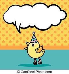 birthday bird doodle