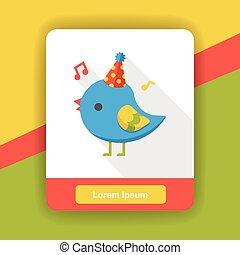 Birthday bird flat icon