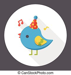 Birthday bird flat icon