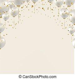 Birthday Border And White Balloons Grey Background