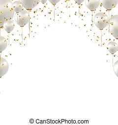 Birthday Border And White Balloons White Background