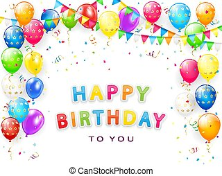 Birthday Border with Balloons and Confetti on White Background