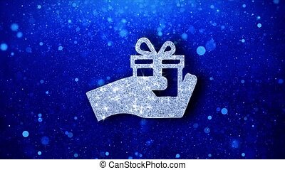 Birthday, box, gift, giftbox, hand, give Icon White Blinking Glitter Glowing Shine on Blue Particles. Shape, Web, Text , Design, Element Symbol 4K Loop Animation