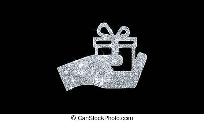 Birthday, box, gift, giftbox, hand, give Icon Sparkling Shining White Blinking Particles Diamond Glitter Loop Light 4K Animation Alpha Channel.