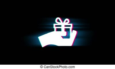 Birthday, box, gift, giftbox, hand, give Symbol on Glitch Led Screen Retro Vintage Display Animation 4K Animation Seamless Loop Alpha Channel.