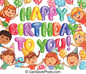 Birthday bright banner with balloons and kids