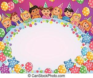Birthday bright frame cute kids