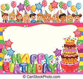 Birthday bright frame with cake and cute kids