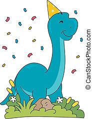 Birthday Brontosaurus - Illustration Featuring a...