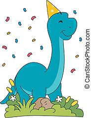 Birthday Brontosaurus - Illustration Featuring a...