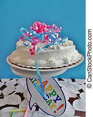 Birthday cak with ribbons