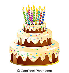 Birthday cake and candle. Vector Illustration