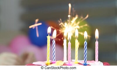 Birthday cake and candles 1080p HD Video