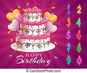Birthday cake and candles with age numbers from one to zero, vector happy birthday dessert for party celebration. Cupcake, heart shaped balloons and colorful candle digits with light for anniversary