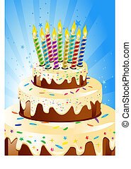 Birthday cake and candle.Vector Illustration.