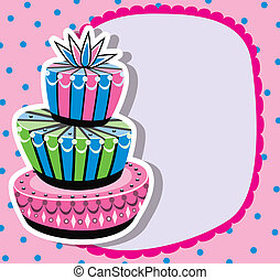 birthday cake and copy-space - vector card with birthday...