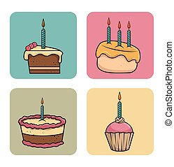 birthday cake and cupcake with candles