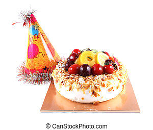 Birthday cake and hat